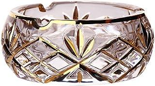 JIAJBG Novedad Cenicero de cristal simple moda práctico personalidad hogar multifunción decoración/oro/grande