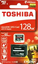 Toshiba 128GB 128G EXCERIA M302 with Adapter microSDXC UHS-I U3 Card Class 10 microSD micro SD Card Memory Card for 4K video recording Read 90MB/s ( THN-M302R1280A2 )