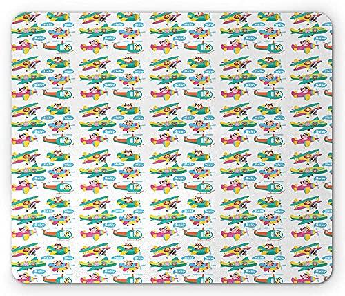 Childish Tapis de Souris, Animaux Lion Porc Fox Lapin Girafe Volant sur Airplanes Bonjour bébé Wow Party, Rectangle antidérapante en Caoutchouc Tapis de Souris, Taille Standard, Multicolore 25cmX20cm