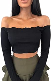TOPUNDER Womens Off Shoulder Blouses Crop Tops Frill Tops Bralet Boobtube Jumper by
