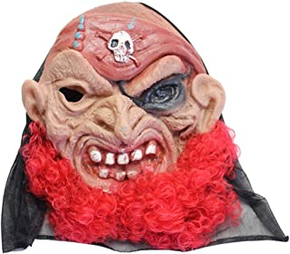 HESANYU AU Halloween Mask Horror Mask Masquerade Cos Party Horror Ghost Festival Scary Ghost Mask Latex Mask Red
