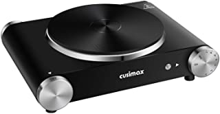 CUSIMAX Electric Hot Plate for Cooking Portable Single Burner 1500W Cast Iron hot plates Heat-up in Seconds Adjustable Tem...