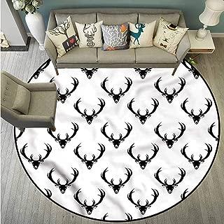 Custom Rugs,Antlers,Monochrome Deer with Horn,Super Absorbs Mud,4'11