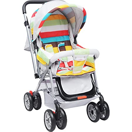 R for Rabbit Lollipop Lite Colorful Stroller & Pram with Easy Fold for Newborn Baby | Kids of 0 to 3 Years (Rainbow Multi Color)