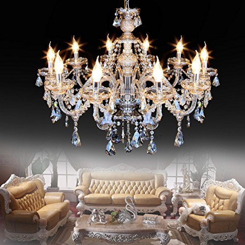 Ridgeyard 25.6 x 35.4 Inch Modern Luxurious 10 Lights K9 Crystal Chandelier Candle Pendant Lamp Living Room Ceiling Lighting for Dining Bedroom Hallway Entry (Cognac/Champagne Color)
