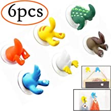 Neepanda 6 Pcs Lovely Cartoon Animal Tail Shape Sucker Kitchen Bathroom Wall Hook Cute Funny Kittens, Kangaroos, Puppies, Fish, Ducklings, Crocodile Tails Hook with Strong Vacuum Suction Cup-6 Colours