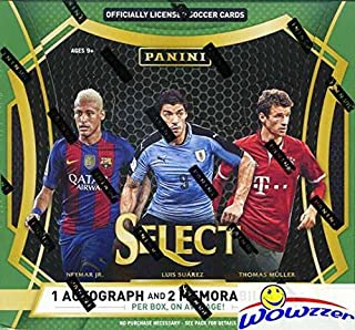 2016/17 Panini Select Soccer Factory Sealed HOBBY Box with THREE(3) AUTOGRAPHS/MEMORABILIA & 12 PRIZMS! Look for Autographs, Jerseys & Cards of Ronaldo, Pele, Neymar, Christian Pulisic & More! WOWZZER