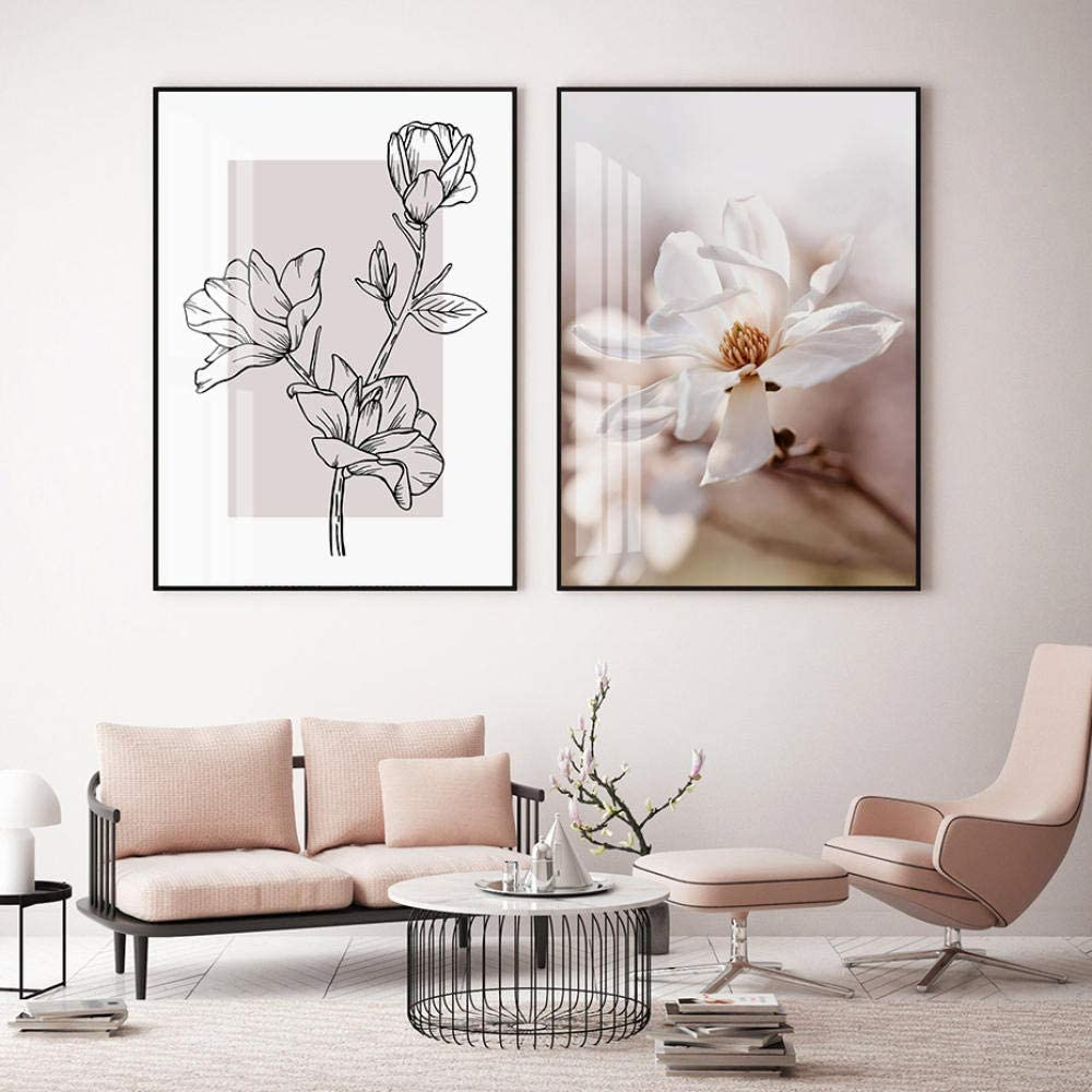 Modern Pink Floral Sketch Plants Ranking TOP6 Wall Canvas Pictur Ranking TOP12 Painting Art