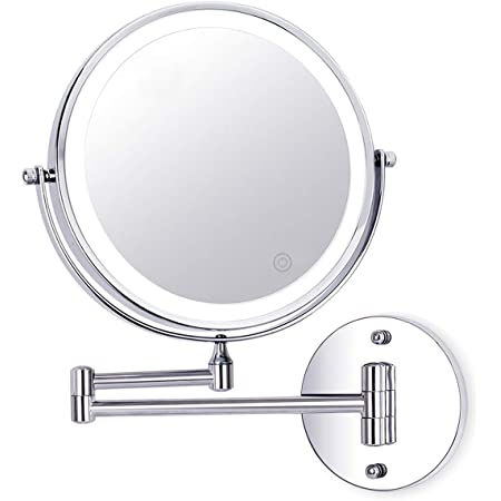 Wall Mounted Makeup Mirror 8 Inch 1x 10x Magnifying Double Sided Touch Button Adjustable Light 360 Swivel Extendable Vanity Mirror Chrome Finished For Bathroom Hotels Battery Powered Wireless Amazon Co Uk Home Kitchen