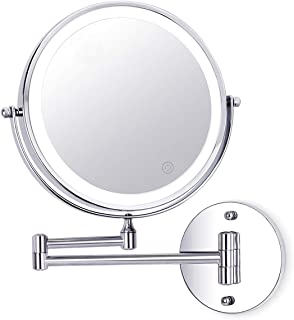 Wall Mounted Makeup Mirror 8 Inch 1X/10X Magnifying Double Sided Touch Button Adjustable Light 360° Swivel Extendable Vani...