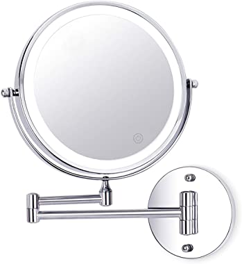 Wall Mounted Makeup Mirror 8 Inch 1X/10X Magnifying Double Sided Touch Button Adjustable Light 360° Swivel Extendable Vanity