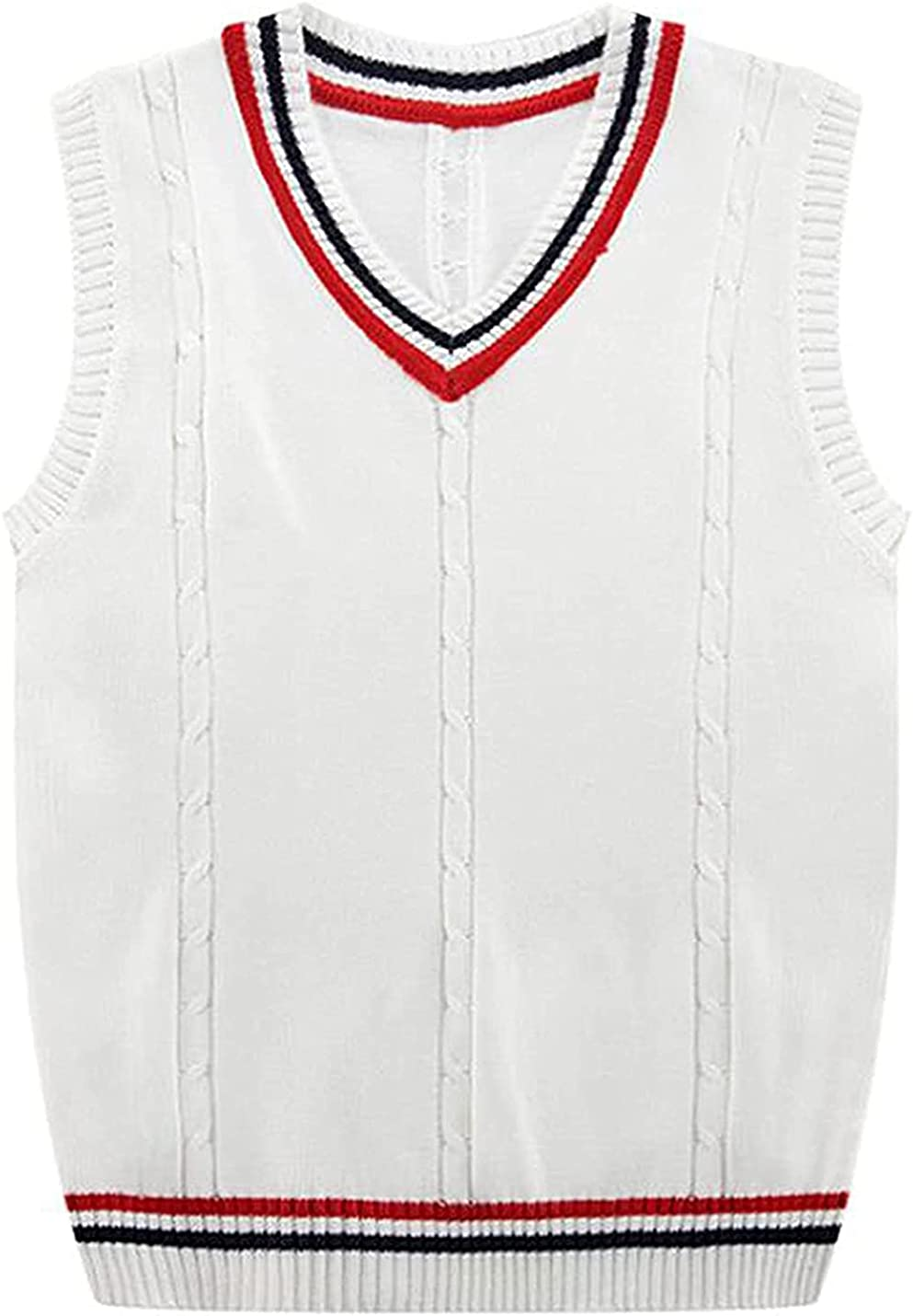 PAODIKUAI Men's Casual Knitted V-Neck Vest JK Uniform Sleeveless Sweater Vest Pullover