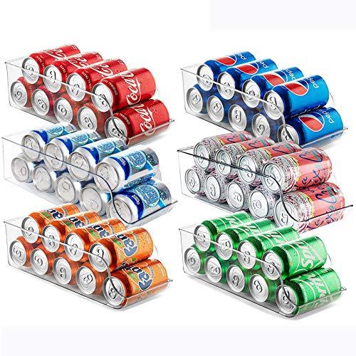 Set of 6 Refrigerator Organizer,Drink Soda Can Beverage Food Clear Plastic Holder for Fridge Freezer Cabinets Cupboard Kitchen