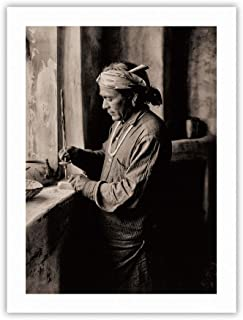 Zuni Bead Worker Curtis 1903 100% Carbon Archival Inks Bamboo Paper Art Print 12x16 in B&W Carbon Fine Art Print CPB8932