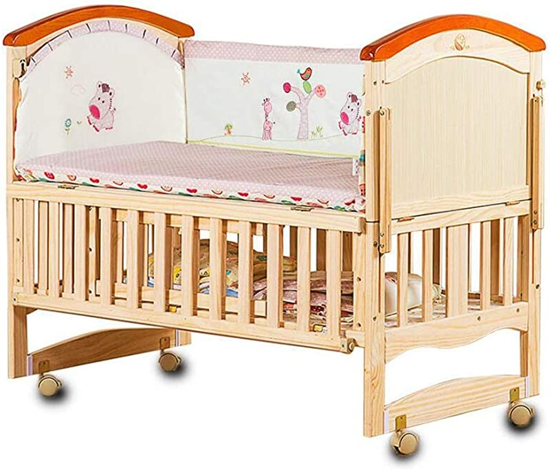 XY Crib Storage Bed 2 Tier Solid Wood Crib Adjustable Height Variable Desk Multifunction Toddler Bed Newborn Baby Cots With Anti Bite Strip Size S