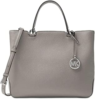 Michael Kors Anabelle Zip Top Large Genuine Leather Tote Bag (Pearl Grey)