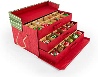[Christmas Ornament Storage Box with Dividers] - (Holds 72 Ornaments up to 3 Inches in Diameter) | Acid-Free Removable Trays with Separators | 3 Removable Drawer Style Trays - (Polka Dot)