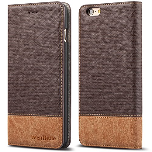 for iPhone 6s 4.7 Case,WenBelle,Stand Feature,Double Layer Shock Absorbing Premium Soft PU Color Matching Leather Wallet Cover Flip Cases for Apple iPhone 6 6s 4.7 inch Classic Brown