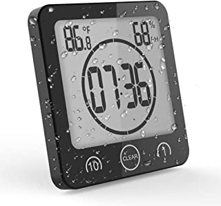 OCEST Digital Bathroom Shower Kitchen Clock Timer with Alarm Temperature Humidity Waterproof Touch Screen Timer Large Number Display with Suction Cup Hanging Wall Clock Shelf Clock- Black