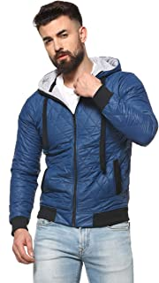 Campus Sutra Hooded Collar with Front Zipper Jacket for Men