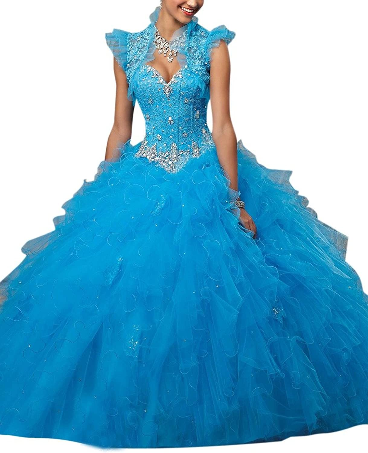 Dearta Women's Ball Gown Sweetheart FloorLength Laceup Tulle Quinceanera Gowns