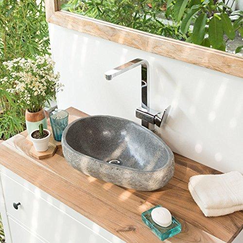 wohnfreuden Naturstein Waschbecken oval ca 40 cm mit Unikatauswahl nach dem Kauf aus Bildergalerie mit Abmaßen