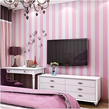 Blooming Wall Modern Stripes Peel And Stick Paint Wallpaper Self Adhesive Wallpaper Wall Decor Contact Paper Pink White Stripes Amazon Com