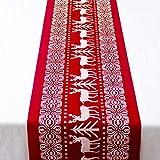 Ruikey Chemin de Table en Coton et Lin de Noël Décoration de Table Nappe Lavable pour Fête 28*270CM