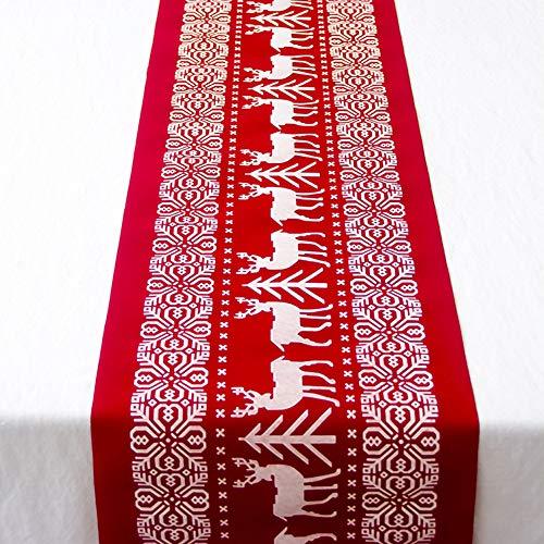 DaoRier Nappe de Coton imprimée de Noël Convient pour la décoration de Table de Noël Table Tapis Repas Tapis Home Party Flocon de Neige Pentagramme dîner de Noël Tapis Décor Coussin Table