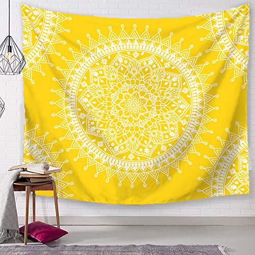 TSDA Bohemian Tapestrise Yellow Mandala Flower Psychedelic Rug Wall Hanging Indian Popular Hippie Tapestry (Small-59 x 51 in)