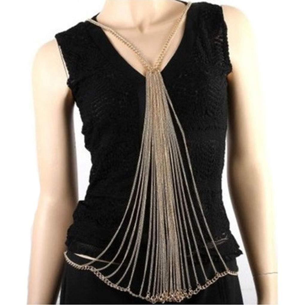 Tgirls Layered Punk Body Chain Gold Tassel Body Jewelry for Women and Girls
