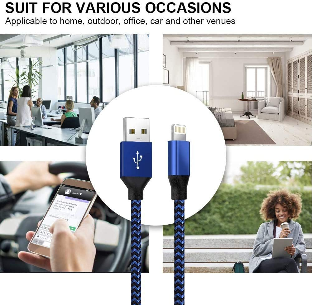 iPhone Charger,YEFOOT MFi Certified Lightning Cable(3/3/6/6/10FT) Charging USB Syncing Data Nylon Braided with Metal Connector Compatible iPhone 12/11/Pro/Max/X/XS/XR/XS Max/8/Plus/7/7 Plus More