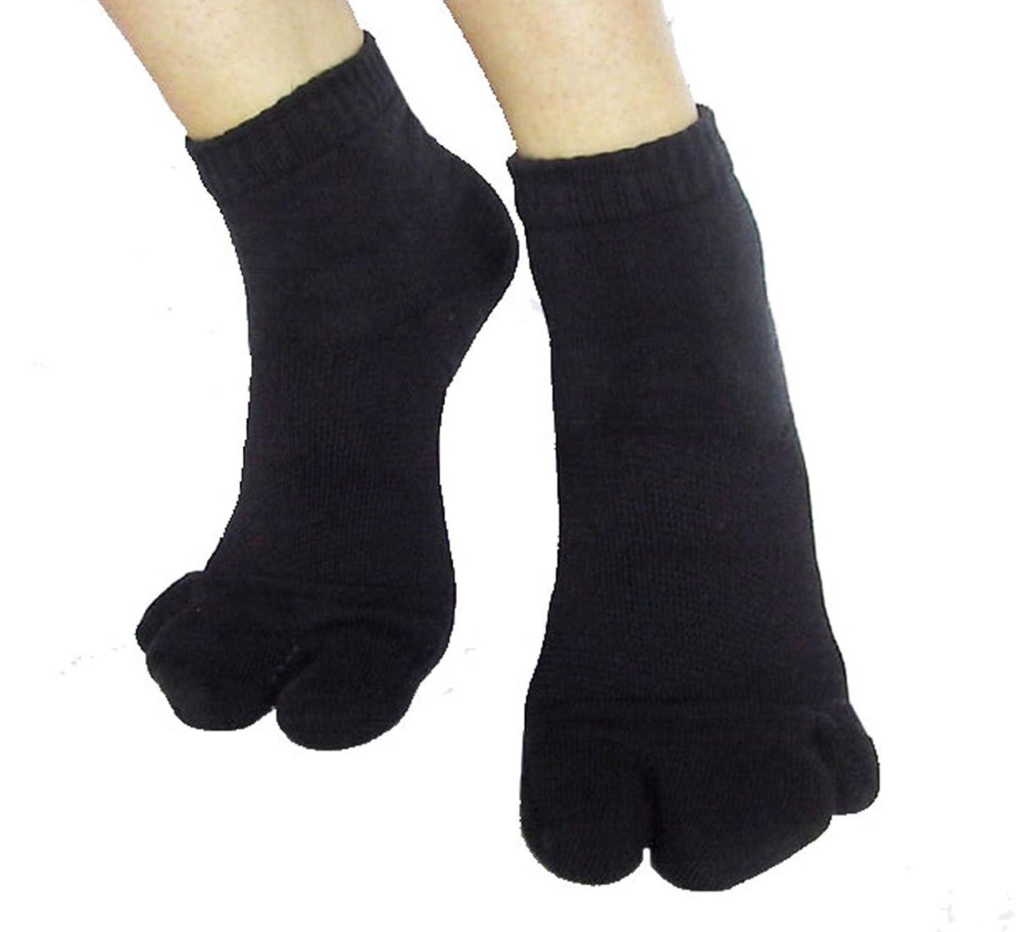 ストレスドラフトクロスカサハラ式サポーター ホソックス3本指テーピング靴下 ブラックL25-26cm