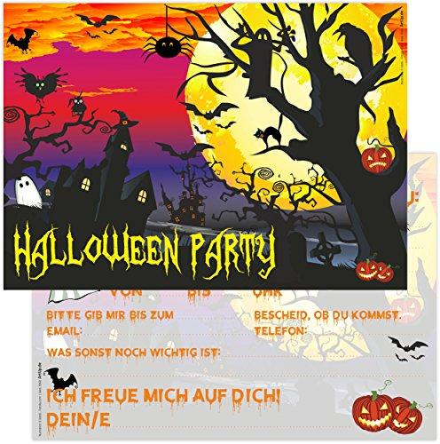 ArtUp.de 12 Halloween Party Einladungskarten gruselige schöne Karten im Set DIN A6 Vorlagen Einladungstext Geburtstag
