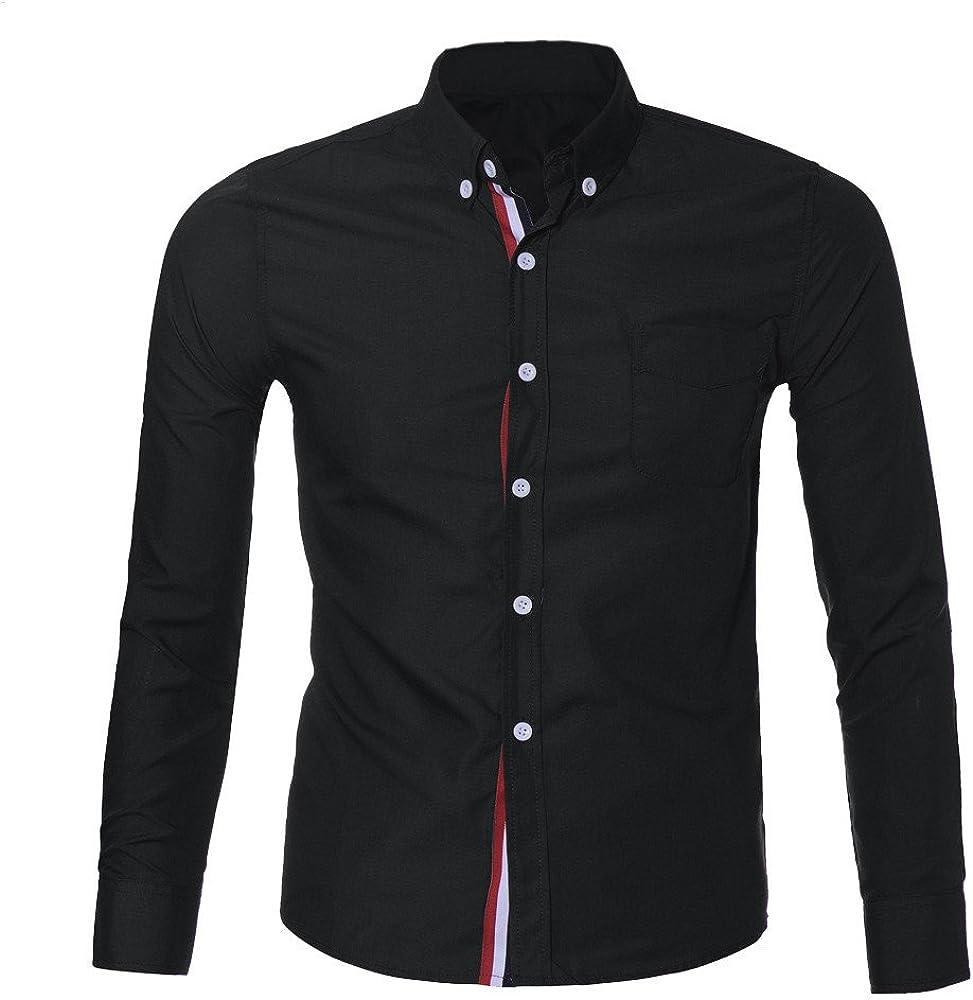MODOQO Men's Button Down Shirt, Casual Long Sleeve Slim Fit Stylish Dress Shirts