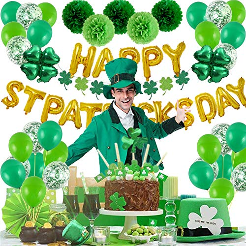 70 Pcs St. Patrick's Day Party Decorations Happy St. Patricks Day Party Supplies Pack Including Letter Balloons,Paper Flowers Confetti, Balloons,Pompoms,Four-Leaf Clover Banner Favors