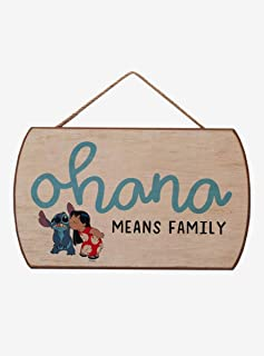 Hot Topic Disney Lilo & Stitch Ohana Means Family Hanging Wood Sign