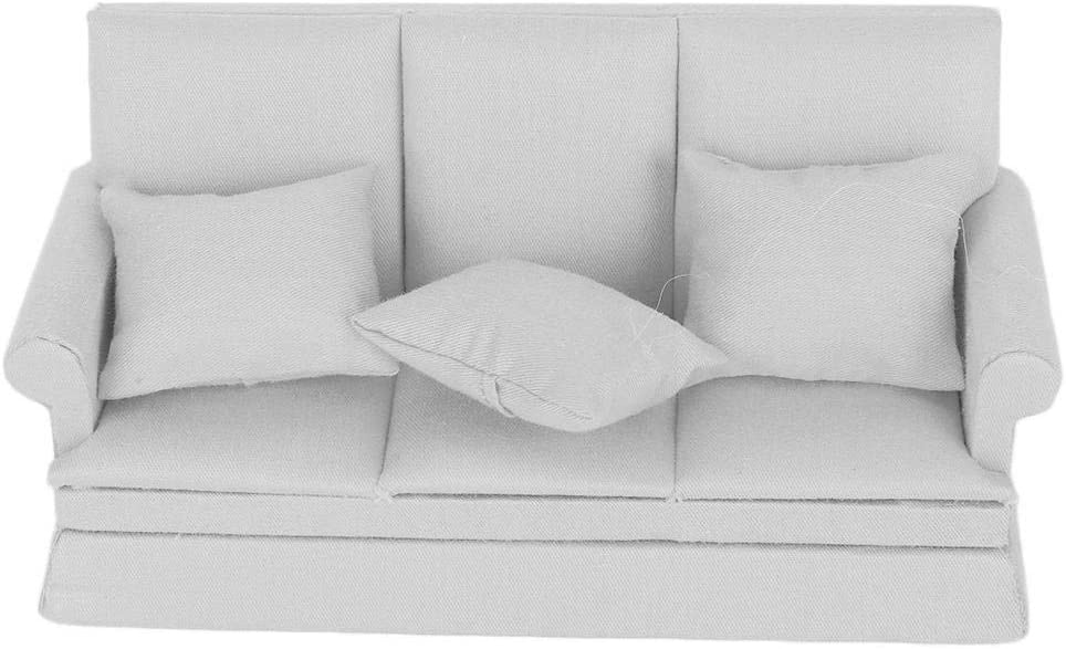 Weiyirot Miniature Dollhouse Sofa, 1:12 Doll House Mini Sofa with 3Pcs Pillow, DIY Dollhouse Living Room Furniture Wooden Doll House Decoration Accessories(Gray)