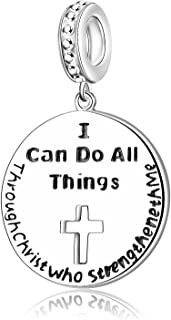 AMATOLOVE 925 Sterling Silver Charms Pendant Necklace I Can Do All Things Through Christ who Strengthen Me Religious Gifts for Women Girls Men