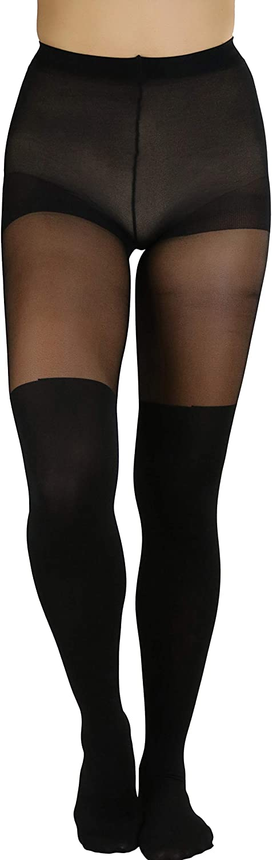 ToBeInStyle Women's Goth Queen Cross Opaque Sheer Contrast Pantyhose