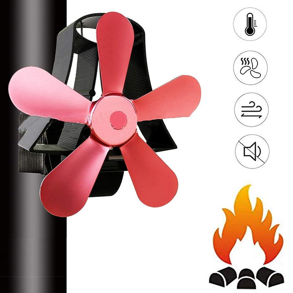 マッシュむしろエレベーターマグネット環境煙突ファン、woodストーブ用の静かな懸垂式熱冷却ファン、暖炉 - 5ファンの葉,Rosered