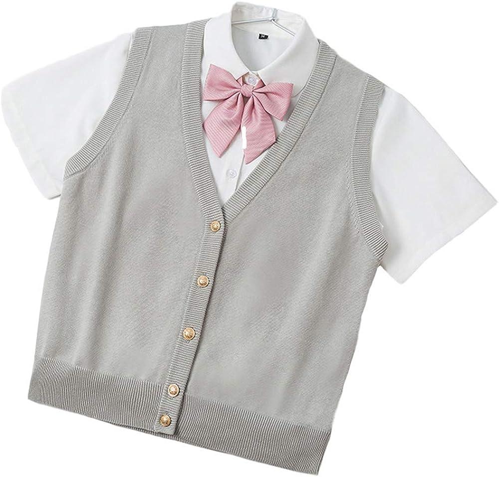 Gihuo Women's V Neck Button Down Solid Uniform School Sweater Vest