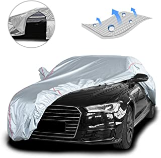 Tecoom Hard Shell Oxford Material Door Shape Zipper Design Waterproof UV-Proof Windproof Car Cover for All Weather Indoor ...
