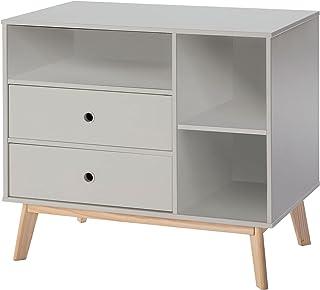 HOMCOM Commode 2 tiroirs 3 niches pour Enfant dim. 90L x 50,8l x 80,1H cm MDF Gris Bois Massif pin