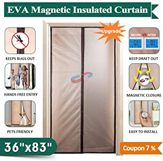 IKSTAR Magnetic Thermal Insulated Curtain Conditioner Heater Room/Kitchen Warm Winter Cool Summer, Keeping Out Draft and Cold Air Screen Auto Closer Fits Doors Up to 34