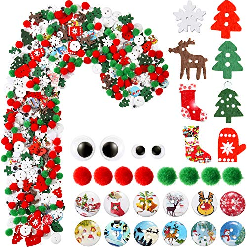 WILLBOND 500 Pieces Christmas Embellishments Mix Christmas Wood Buttons Christmas Tree Pom Pom Ball Wiggle Eyes Ornaments Assorted Styles for Xmas DIY Craft Sewing Decoration Accessories