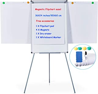MAKELLO Flip Chart Easel Magnetic Tripod Whiteboard Dry Erase Board with Stand, Extended Display Arms, Adjustable Height, 36X24 inches