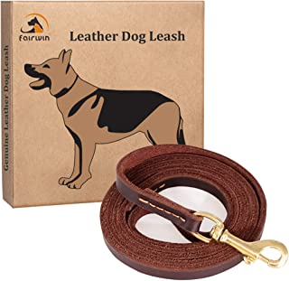 Fairwin Brown 6FT/ 5FT Genuine Leather Dog Leash Leads Rope for Large/Medium/Small Dogs Training/Walking