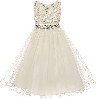07f442b0693 Glitters Sequined Bodice Double Layer Tulle Rhinestones Sash Flower Girl  Dress