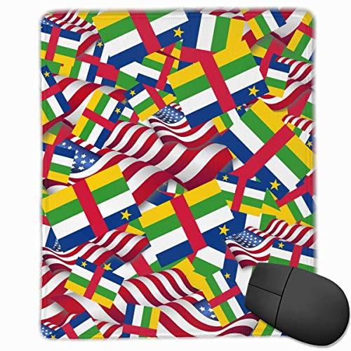 Alfombrilla de ratón Bandera de África Central con América Bandera Gaming Alfombrilla de ratón Alfombrilla de ratón Diseño Personalizado Antideslizante 25 x 30 x 0.3 CM